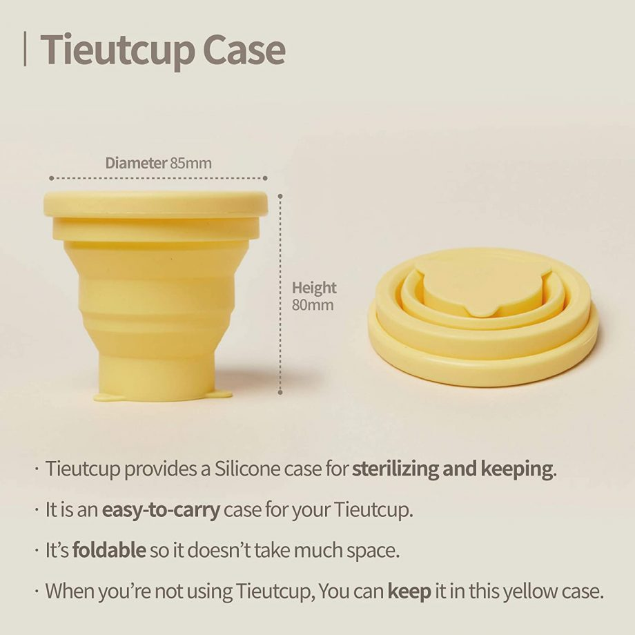 Foldable Tieut cup sterilising case. It has a height of 80mm and diameter of 85mm.